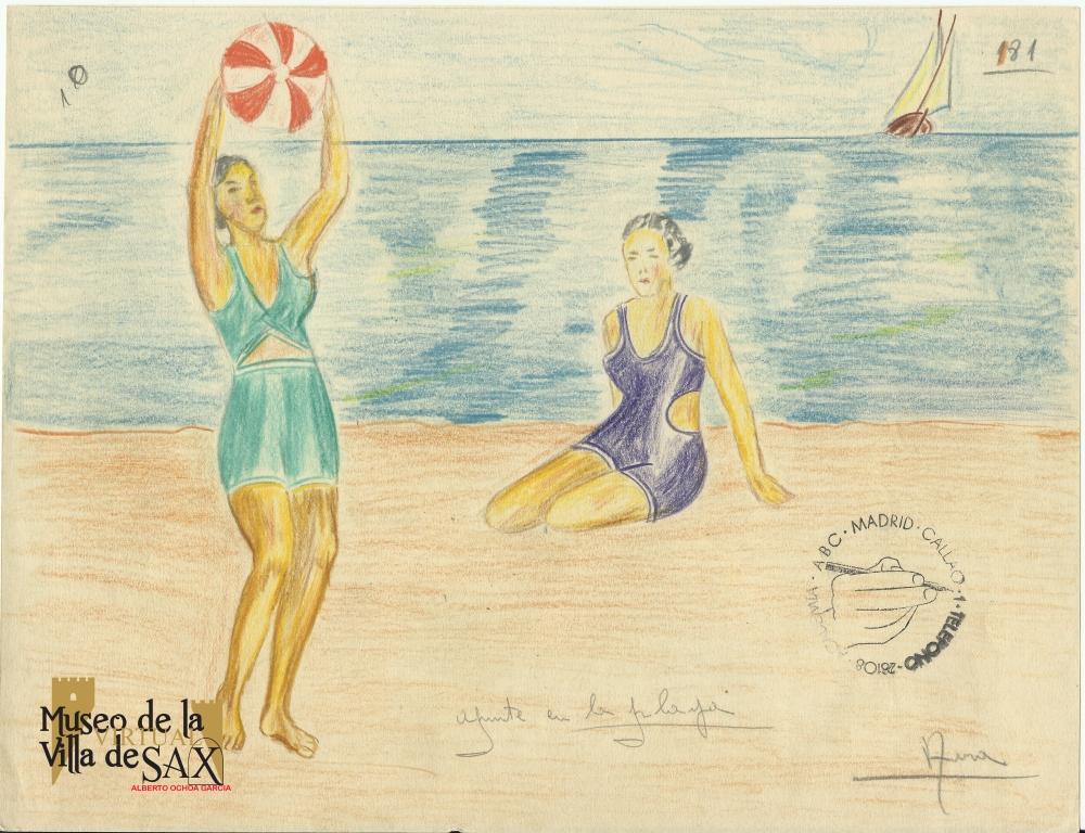 Mujeres ¿sajeñas? bañándose en el mar en los años 50