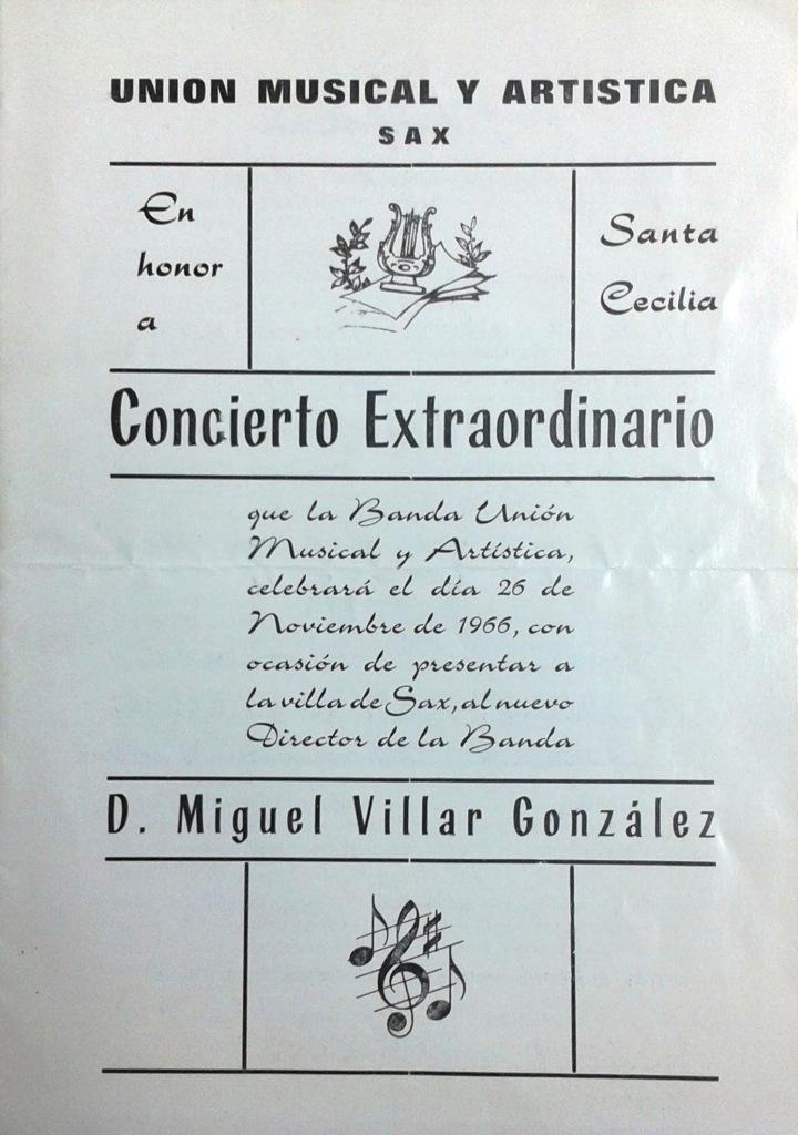 """Portada del programa de presentación del maestro Villar en Sax (Biblioteca Pública Municipal """"José Azuar"""" de Sax)"""